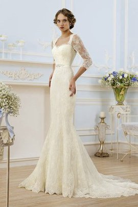 Long Court Train Keyhole Back Sexy 3/4 Length Sleeves Wedding Dress