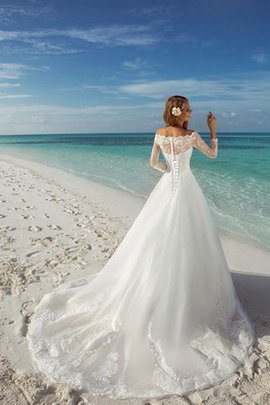 Lace Elegant & Luxurious Bateau Court Train Romantic Wedding Dress