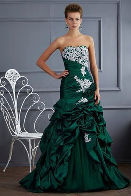 Taffeta Ball Gown Long Strapless Zipper Up Quinceanera Dress