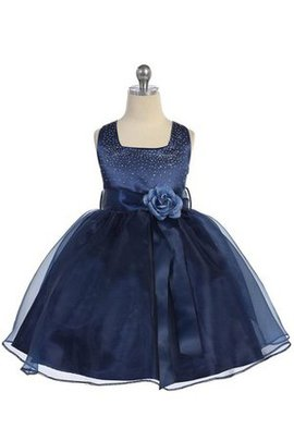 Beading Square Pleated Ball Gown Organza Flower Girl Dress