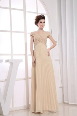Short Sleeves Simple Beading Criss-Cross Floor Length Mother Of The Bride Dress