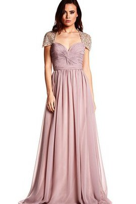 Pleated Capped Sleeves A-Line Ruched Keyhole Back Prom Dress