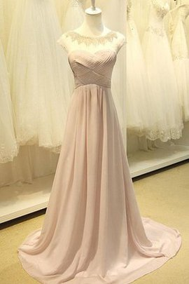 Ruffles Floor Length Long Capped Sleeves Natural Waist Prom Dress