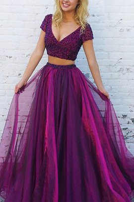 Tulle 2 Piece Floor Length Natural Waist Princess Evening Dress