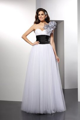 Zipper Up Sashes Long One Shoulder Empire Waist Prom Dress