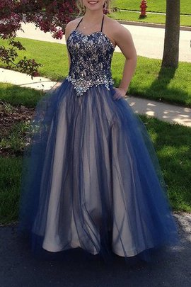 Tulle Sleeveless Floor Length Natural Waist Ball Gown Evening Dress