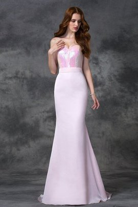 Satin Sleeveless Natural Waist Floor Length Beading Bridesmaid Dress