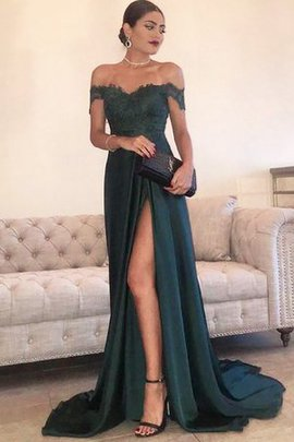 Natural Waist Exquisite Satin Lace Off The Shoulder Princess A-Line Evening Dress