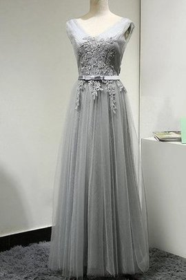Sashes Tulle Romantic Short Sleeves V-Neck Bridesmaid Dress