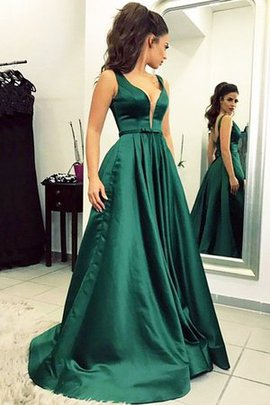Princess A-Line Unique Sweep Train V-Neck Natural Waist Ruffles Prom Dress