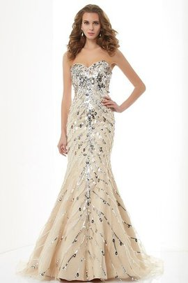 Sweetheart Beading Zipper Up Natural Waist Mermaid Evening Dress
