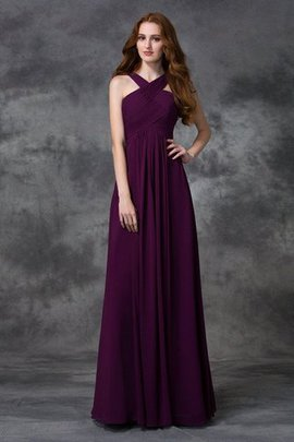 A-Line Natural Waist Chiffon Wide Straps Bridesmaid Dress