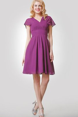 A-Line Pleated Capped Sleeves Short Short Sleeves Bridesmaid Dress