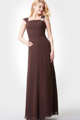 Zipper Up Crystal Chiffon Ruched Floor Length Bridesmaid Dress