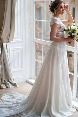 2 Piece Simple Lace Sexy Capped Sleeves Wedding Dress