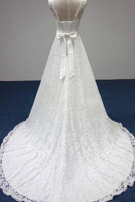 Scoop Ball Gown Knee Length Lace-up Lace Fabric Wedding Dress