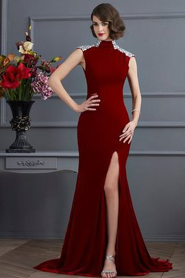Long High Neck Sweep Train Sleeveless Beading Prom Dress