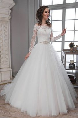 Long Sleeves A-Line Lace Fabric Modest Off The Shoulder Wedding Dress