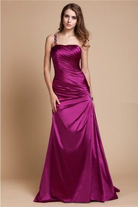 Elastic Woven Satin A-Line Zipper Up One Shoulder Floor Length Prom Dress