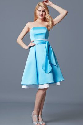 Sashes Zipper Up Tea Length Satin Bridesmaid Dress
