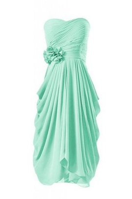 Flowers Natural Waist Chiffon Ruched Sweetheart Bridesmaid Dress