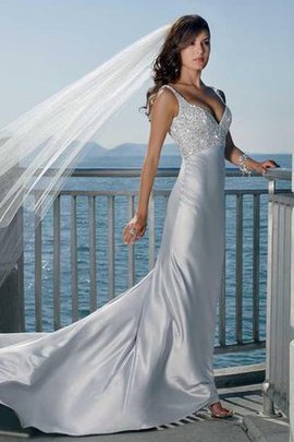 Satin Deep V-Neck Sequined Spaghetti Straps Romantic Wedding Dress