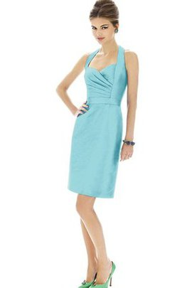 Sheath Halter Sleeveless Ruched Bridesmaid Dress