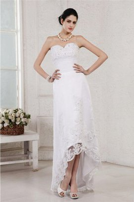 Sheath High Low Appliques Beading Wedding Dress