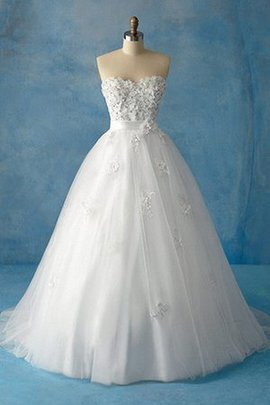 Ankle Length Hourglass Tulle Ball Gown Flowers Wedding Dress