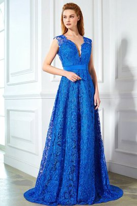 Princess Sleeveless Backless Natural Waist Lace Evening Dress