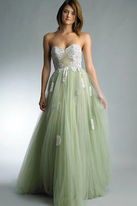 Natural Waist Floor Length Sweetheart A-Line Tulle Prom Dress