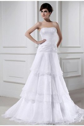 Court Train Long Zipper Up Sleeveless Beading Wedding Dress