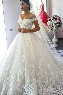 Tulle Elegant & Luxurious Lace Fabric Puffy Embroidery Unique Formal Wedding Dress