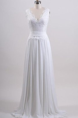 Chiffon Ruched Bow Natural Waist Beach Wedding Dress