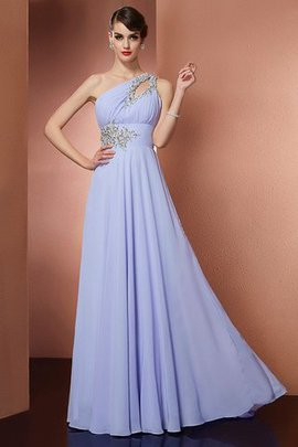 Sweep Train Sleeveless Appliques One Shoulder Beading Evening Dress