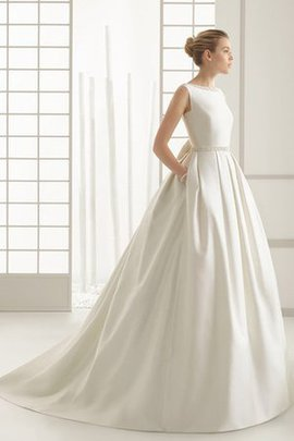 A-Line Sleeveless Elegant & Luxurious Satin Bow Wedding Dress