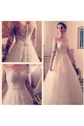A-Line Sashes Lace Floor Length Romantic Wedding Dress