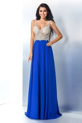 Beading Wide Straps A-Line Sleeveless Prom Dress