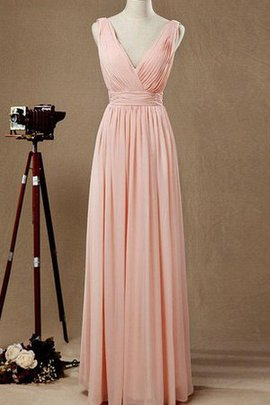 Chiffon Criss-Cross Simple Deep V-Neck A-Line Bridesmaid Dress