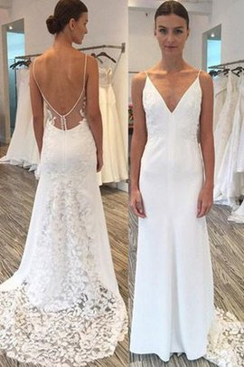 Sexy Spaghetti Straps Outdoor Natural Waist Backless Long Dazzling Wedding Dress
