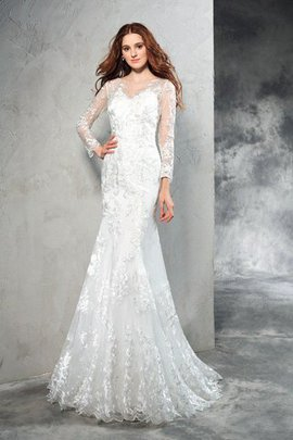 Zipper Up Sheath Long Sleeves Natural Waist Lace Wedding Dress