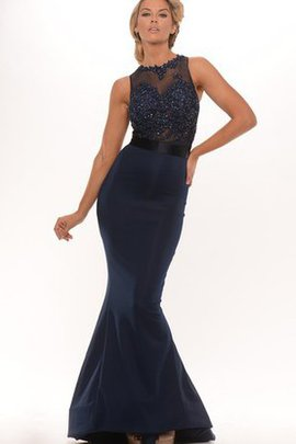 Satin Appliques High Neck Floor Length Mermaid Evening Dress