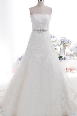 Lace Fabric Strapless Sashes Scalloped-Edge Wedding Dress
