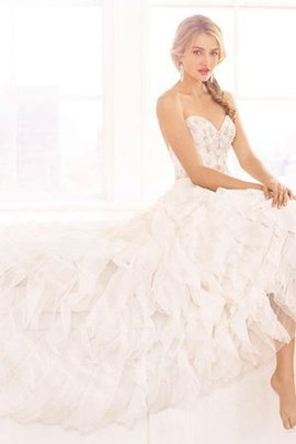Ruffles A-Line Sweetheart Backless Organza Wedding Dress
