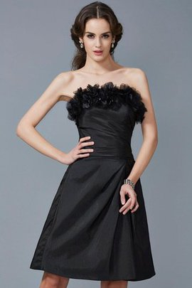 Knee Length Strapless Flowers Taffeta Sheath Bridesmaid Dress