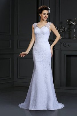 Sleeveless V-Neck Natural Waist Long Sheath Wedding Dress