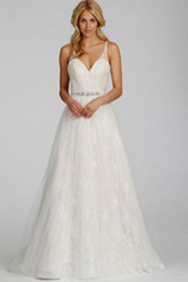 Beading Sweep Train V-Neck Sleeveless Natural Waist Wedding Dress