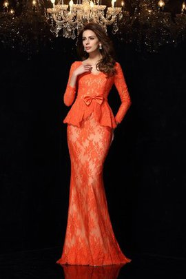 Sheath Natural Waist Accented Bow Sweep Train Long Evening Dress