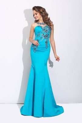 Scoop Natural Waist Long Sleeveless Satin Evening Dress