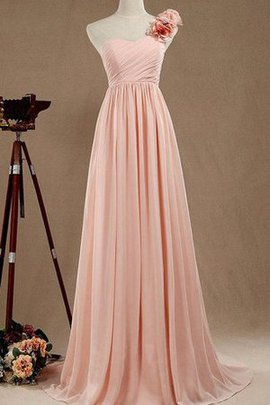 One Shoulder Satin Chiffon Long A-Line Bridesmaid Dress
